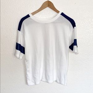💛3/$20 Old Navy White Navy Blue Short Sleeve Top